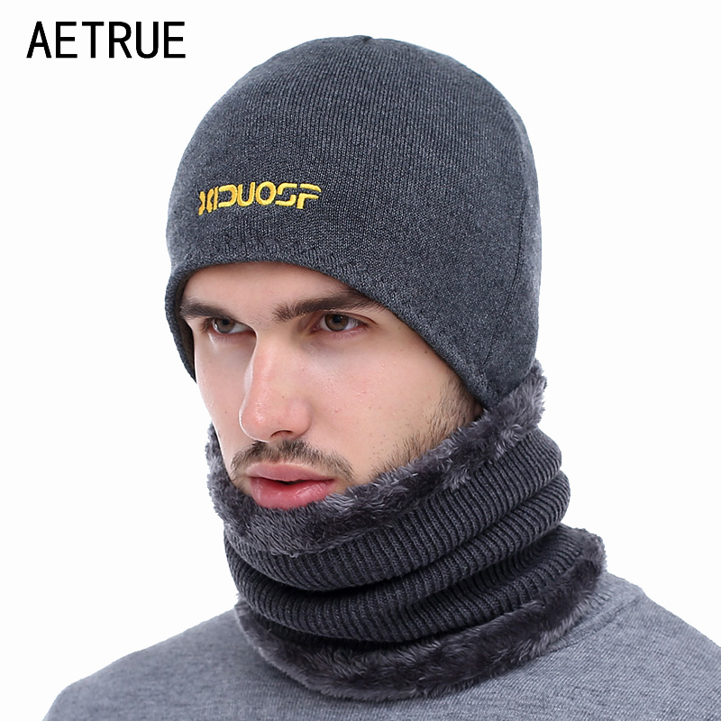 AETRUE Winter   Beanie   Men Knitted Hat Scarf   Skullies     Beanies   Winter Hats For Men Women Caps Gorras Bonnet Fashion Cap Hats 2018