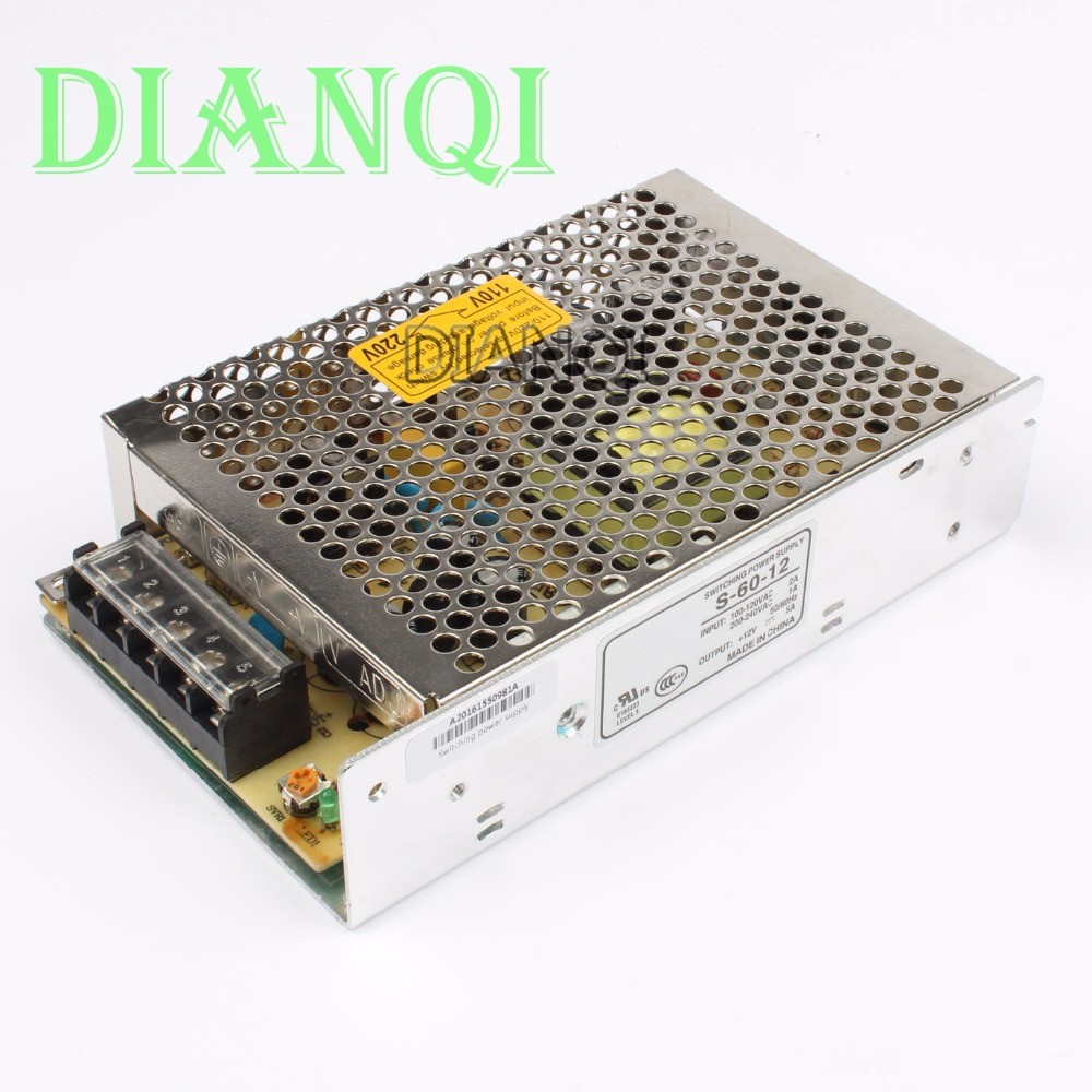 S-60-12 power suply 60w 12V 5A ac to dc power supply unit ac dc converter switch adjustable output voltage 1pcs 60w 12v 5a power supply ac to dc power suply 12v 60w power supply 100 240vac 111 78 36mm