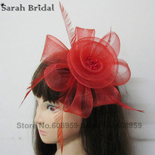 In Stock 2017 New Arrival Black Red Purple Headwear Flower Hair Tulle Feather Flower Hair Accessories