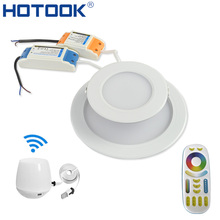 HOTOOK Smart Milight Wifi  RGBW LED Downlight Lamp Dimmable Recessed RGB +CCT Color Changing Remote + Wifi Hub by APP Control
