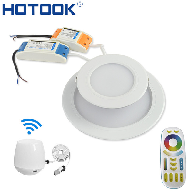 premium selection 05dd1 7408a US $6.0 50% OFF|HOTOOK Smart Milight Wifi RGBW LED Downlight Lamp Dimmable  Recessed RGB +CCT Color Changing Remote + Wifi Hub by APP Control -in ...