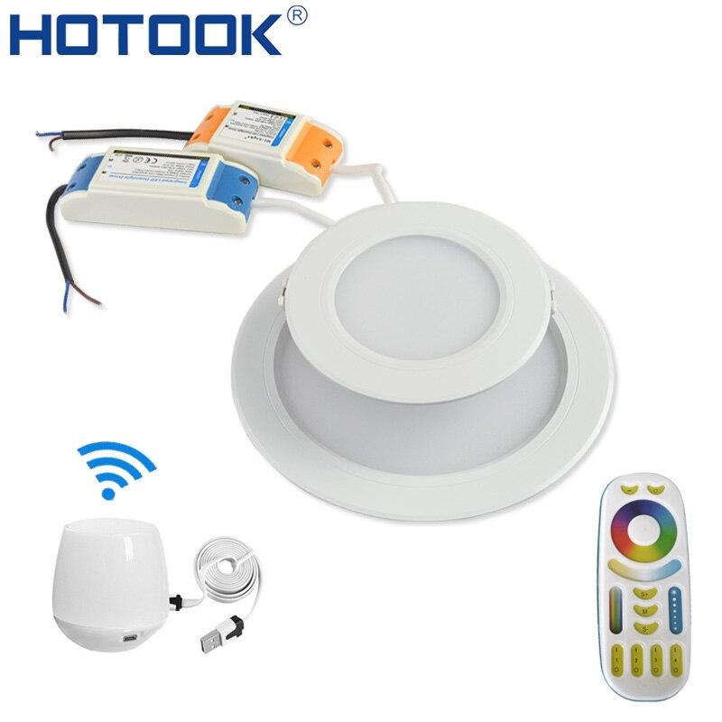 HOTOOK Smart milight Wi-Fi RGBW светодиодные светильники лампы затемнения Встраиваемые RGB + CCT Цвет изменения удаленного + WiFi центр по приложение Управлен...