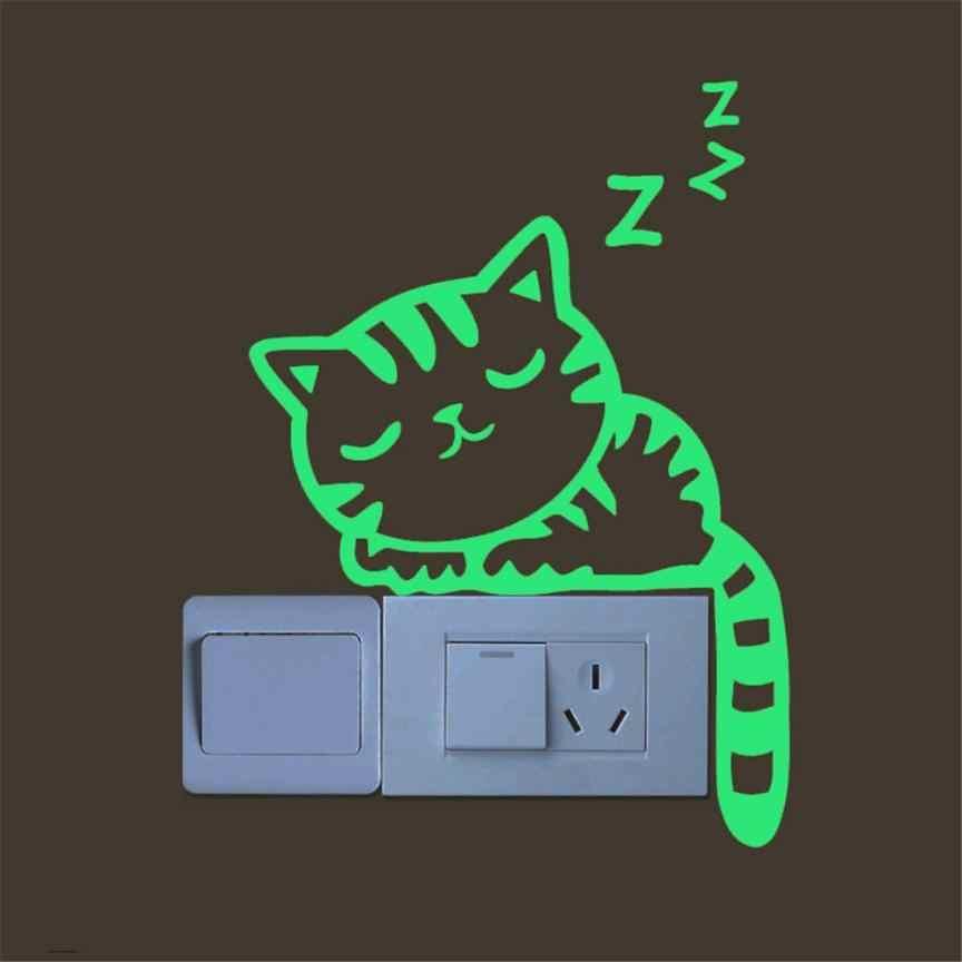 Dễ thương Sáng Tạo Hello Con Mèo Con Mèo Luminous Dạ Quang Glow Chuyển Đổi Tường Sticker cho Trẻ Em Trẻ Em của Cô Gái Phòng Trang Trí 0.36