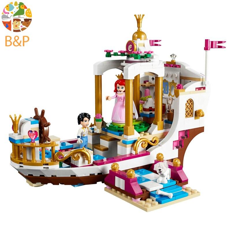 41153 Princess Series 425pcs Ariel Royal Celebration Boat Building Blocks Brick Toys Children Gift Compatible Friends