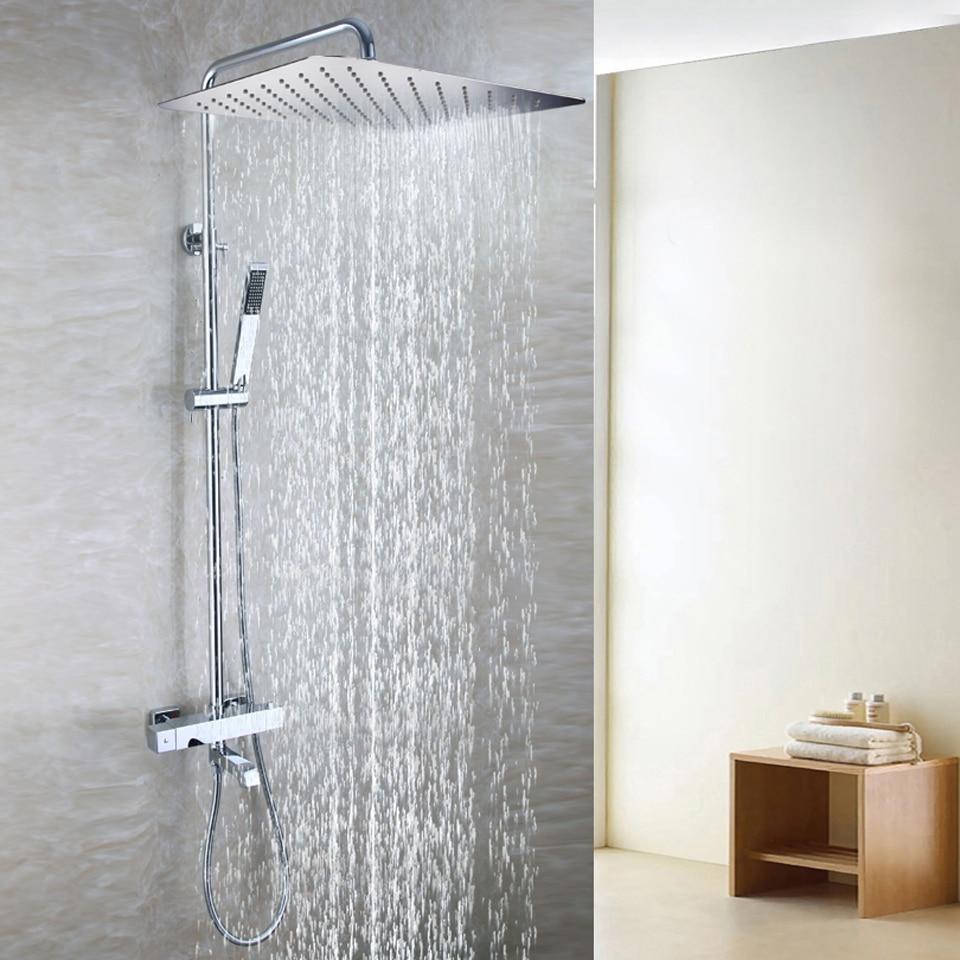 55X35 CM Ultra-thin Rain Shower Head Brass Hand Shower Holder Thermostatic Bath Mixer Valve Exposed Bath Shower Faucet Set exposed bathroom thermostatic shower faucet set 10 inch round led temperature sensitive rain bath shower head brass hand shower