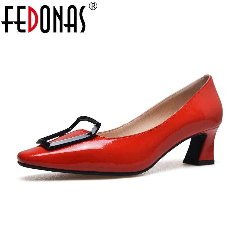 купить FEDONAS New Autumn 2018 Women Pumps High Heels Genuine Leather Shoes Woman Brand Pumps Wedding Shoes Female Sexy Office Pumps онлайн