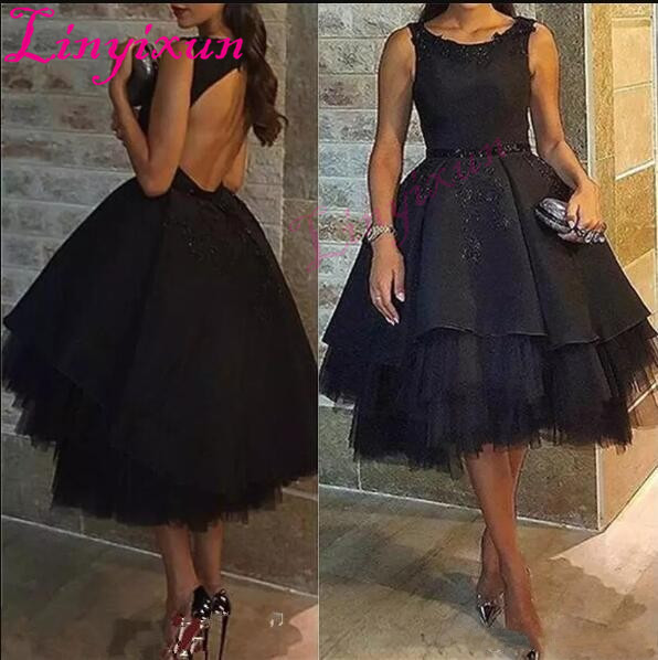 2018 Sexy Little Black Dresses Cocktail Dresses Tea Length Prom Gowns Formal Party Evening Wear Robe de soiree