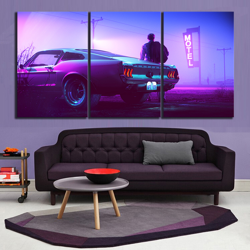 Canvas Art Movie Mountain Top Car Drive Ford Mustang Men Vehicle Motel Painting Wall Art Home Decor 1
