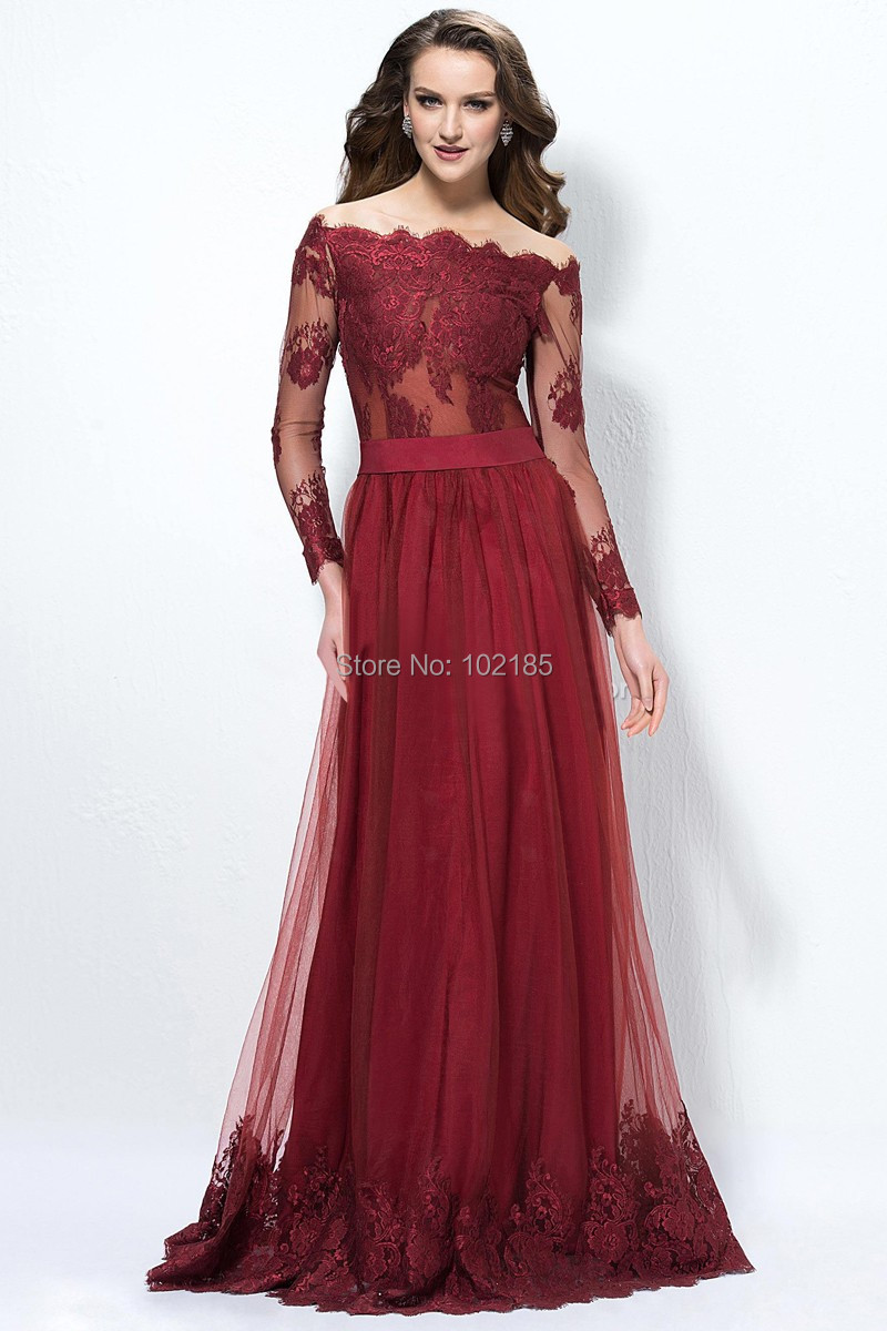 a8eb1097285c New Design Elegant Bordeaux Red Off The Shoulder Long Sleeves Lace Tulle Prom  Dress Women Gown Free Shipping JPD171