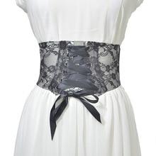 2019 Elegant Women Wide Corset Belts for Women Lace Up Grommet Belt Black White Transparent Hollow Flower Lace Cummerbunds New eyelet lace up wide belt