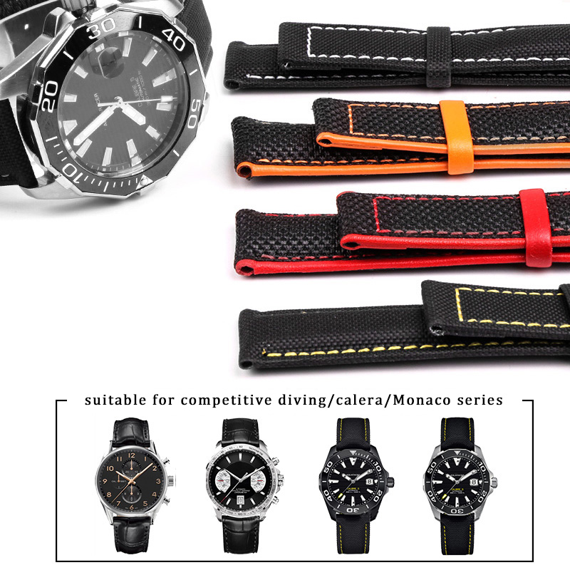 Nylon Leather Canvas Watchband For Omega Speed Seamaster AT150 19mm 20mm 21mm 22mm 23mm Watch Strap For Blancpain Fifty Fathoms
