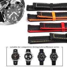 Nylonowy Mix skórzany pasek na rękę dla omeg-a Speed Sea Master AT150 19mm 20mm 21mm 22mm 23mm pasek na zegarek dla pięćdziesięciu Fathoms