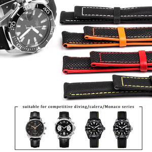 Image 1 - Nylon Mix Leather Canvas Watchband For Omeg a Speed Sea Master AT150 19mm 20mm 21mm 22mm 23mm Watch Strap For Fifty Fathoms