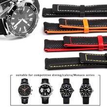 ניילון לערבב עור בד רצועת השעון עבור Omeg מהירות ים מאסטר AT150 19mm 20mm 21mm 22mm 23mm שעון רצועת עבור חמישים Fathoms