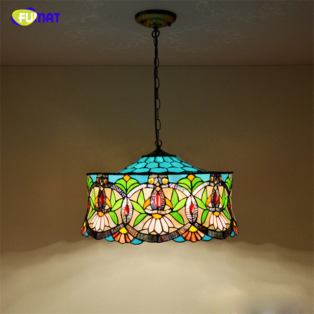FUMAT Stained Glass Pendant Lamp European Style Art Light BAR Living Room Suspension Dining