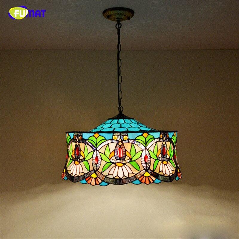 FUMAT Stained Glass Pendant Lamp European Style Art Light BAR Living Room Suspension Dining LED Lights
