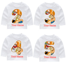 цена Childrens BLEACH Kon Print Cotton Happy Birthday Long Sleeve T-shirts Kid's Fall Long Sleeve Tops Baby Girl Harajuku Clothes