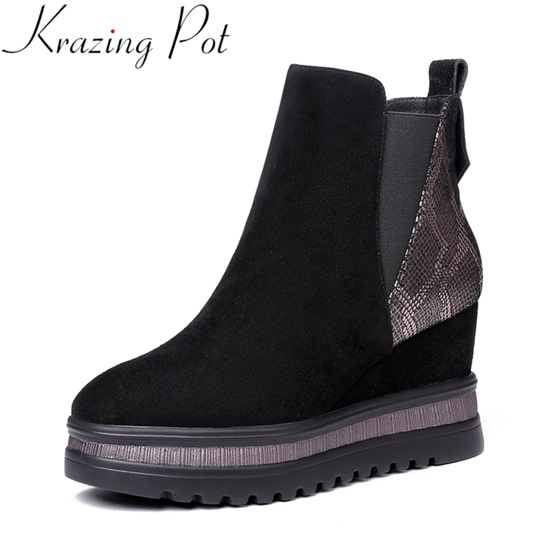 Krazing Pot 2019 big size kid suede wedge women ankle boots platform concise round toe thick bottom keep warm winter shoes L7f3 Krazing Pot 2019 big size kid suede wedge women ankle boots platform concise round toe thick bottom keep warm winter shoes L7f3