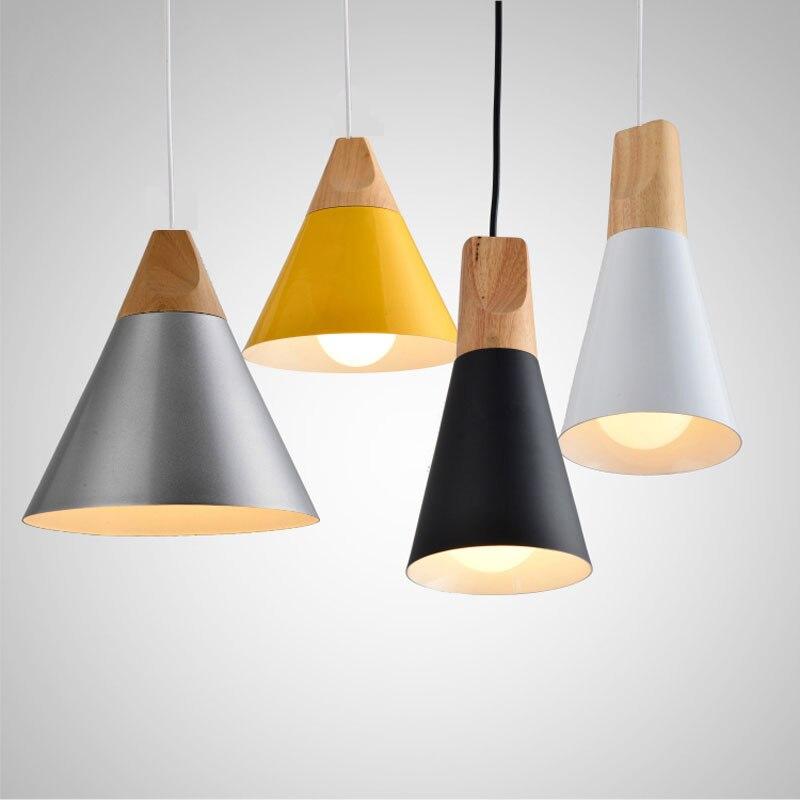 Nordic Pendant Lights For Home Lighting Modern Hanging Lamp Wooden Aluminum Lampshade LED Bulb Bedroom Kitchen
