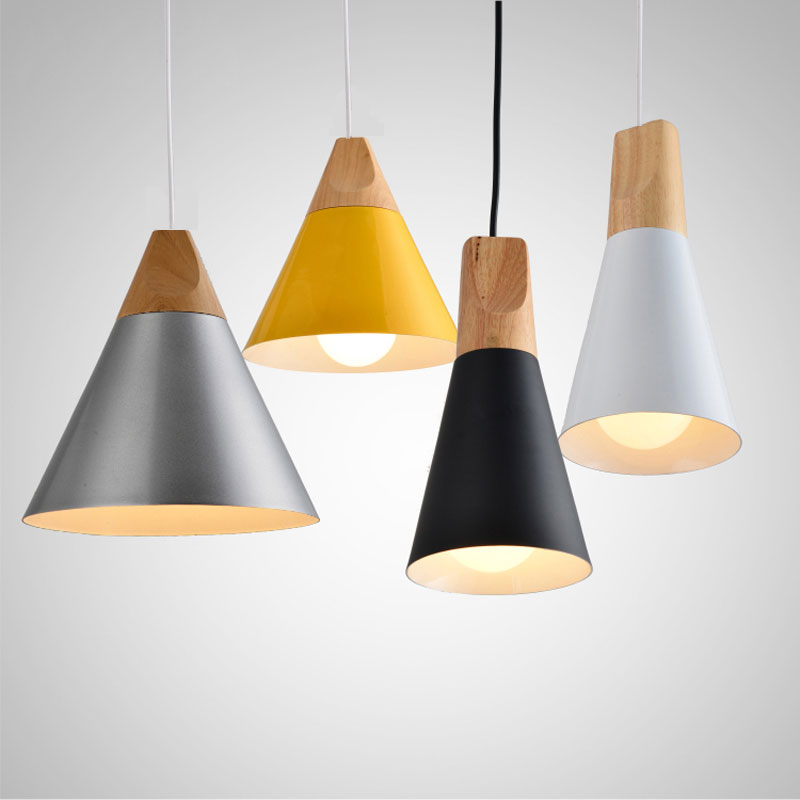 nordic pendant lights for home lighting modern hanging lamp wooden aluminum lampshade led bulb