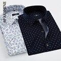 Nova Primavera Dos Homens Casuais Camisas de Manga Curta Moda Marca Negócio Formal Polka Dot Floral Impresso Camisa Dos Homens Vestido de Algodão