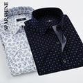 Nueva Primavera Hombres Camisetas Casuales de La Moda de Marca de Manga Corta Polka Dot Floral Impreso Algodón de Los Hombres de Negocios Formal Camisa de Vestir