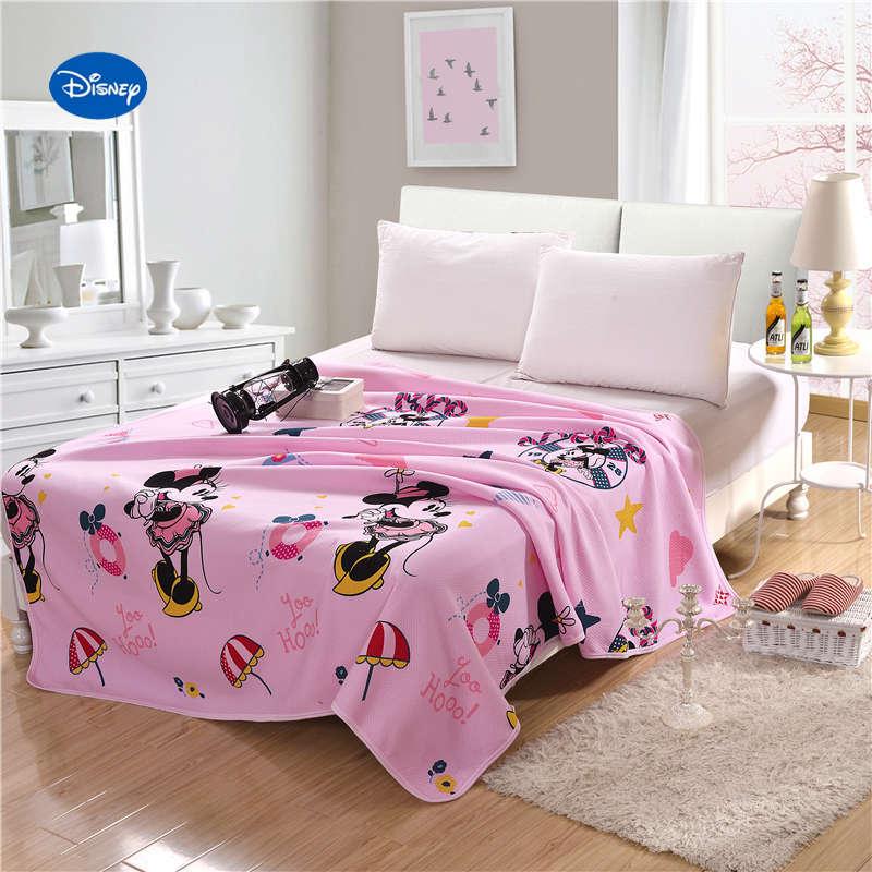 Розовые одеяла с Минни Маус Дисней, летние одеяла, комплекты постельного белья для девочек, детские постельные принадлежности для спальни, односпальные, полностью королевские, хлопковые