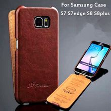 Для Samsung Galaxy S7 S7edge S8 S8plus Одежда высшего качества Модные Ретро Винтаж Вертикальный флип вниз открытой кожаный чехол для телефона Крышка