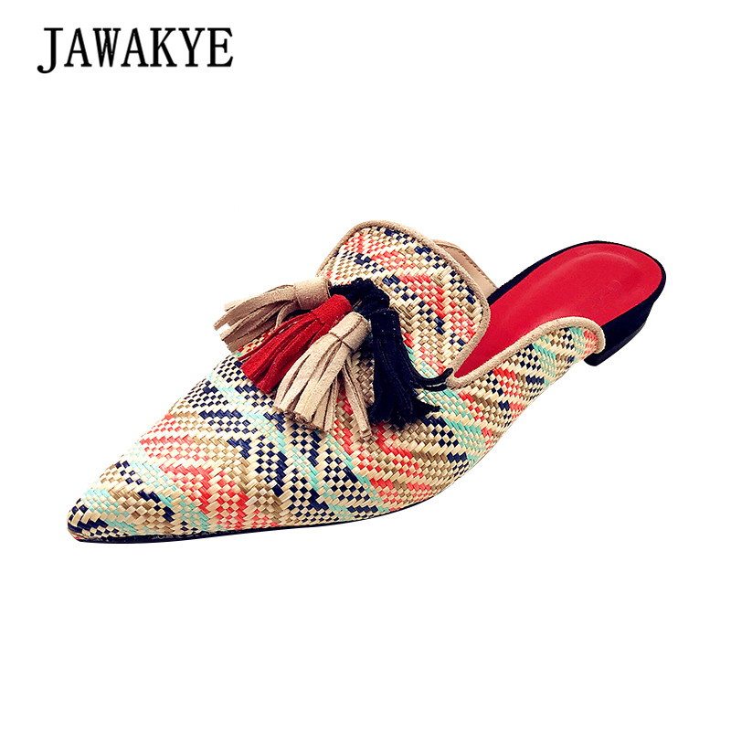 Women Slides Summer Woven Coloured tassel slippers Women Straw Rainbow Mules flat Flip Flop Outdoor Flat Shoes Chaussure Femme woven design straw flat sandals