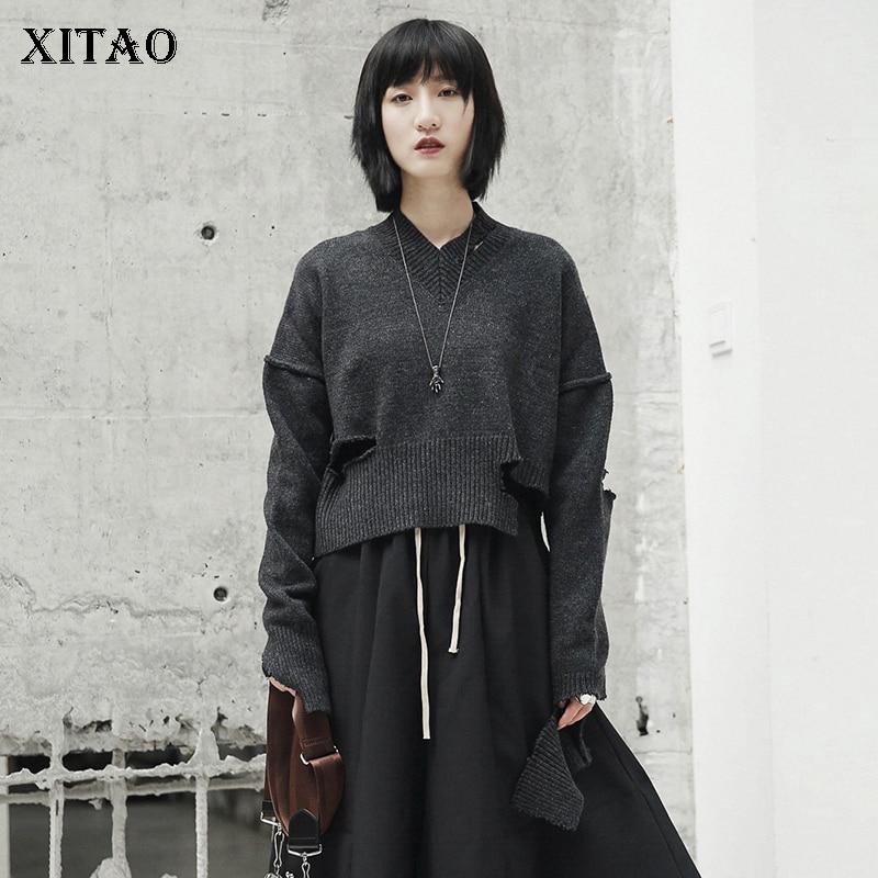 [XITAO] Новый Для женщин 2018 осень v-образным вырезом длинный рукав Повседневное одноцветное Цвет пуловер Solid Цвет компьютер вязаный свитер ZLL1753