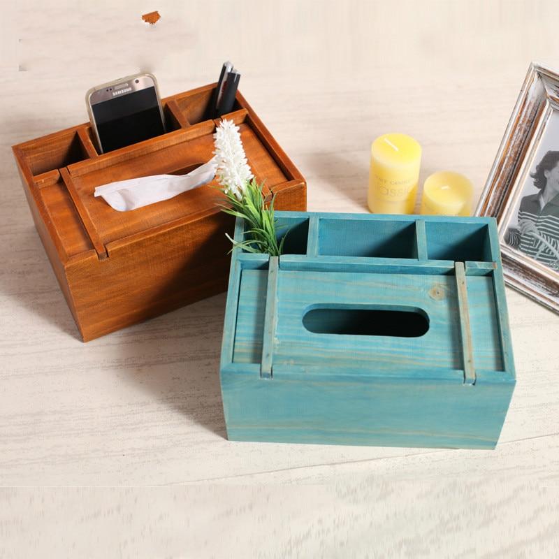 Grocery Retro Old Wooden Desk Paper Box Storage Box Desktop Cosmetics Sundries Storage Box