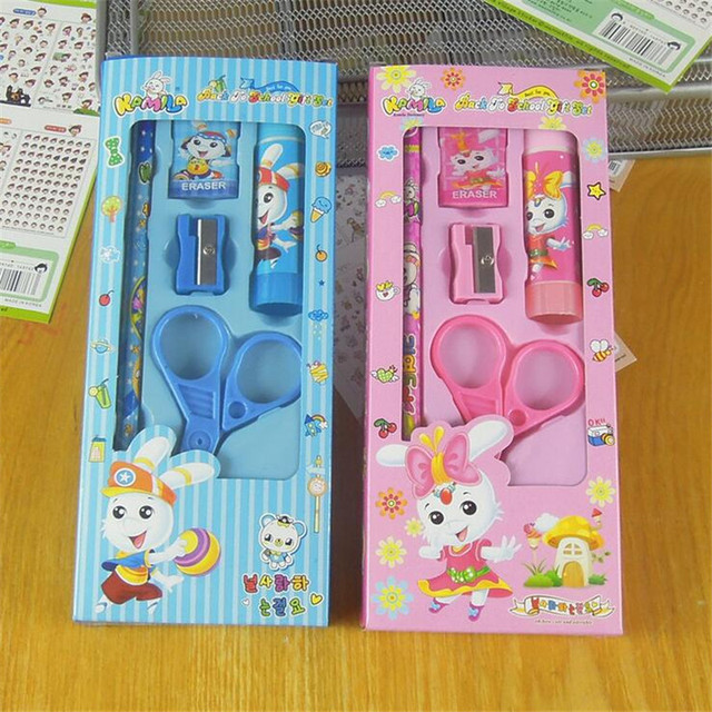 Pupils Prizes Kids Boys Girls Birthday Gift Students School Supplies Cheap Learning Tools Kawaii Stationery Set