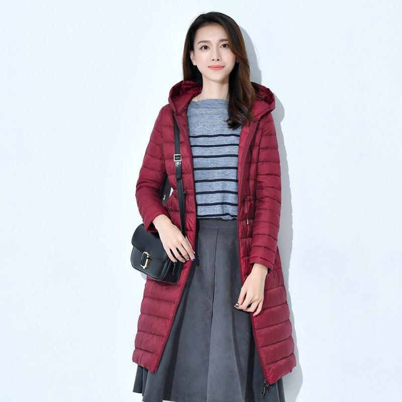 Autumn Winter Slim Belt Hooded 90% White Duck Down Long Coat Women Casual White Duck Down Jacket Windproof Female Outwears Mw151