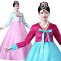 2017 Женщины Полный Рукавом Хлопок Традиционный Корейский Одежда Ханбок Японские Кимоно Юката Дизайн Стиль одежды