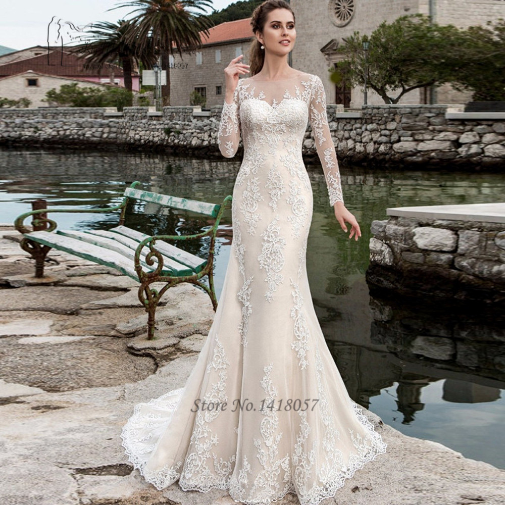 Berta long sleeve lace wedding dress mermaid bridal for Western lace wedding dresses