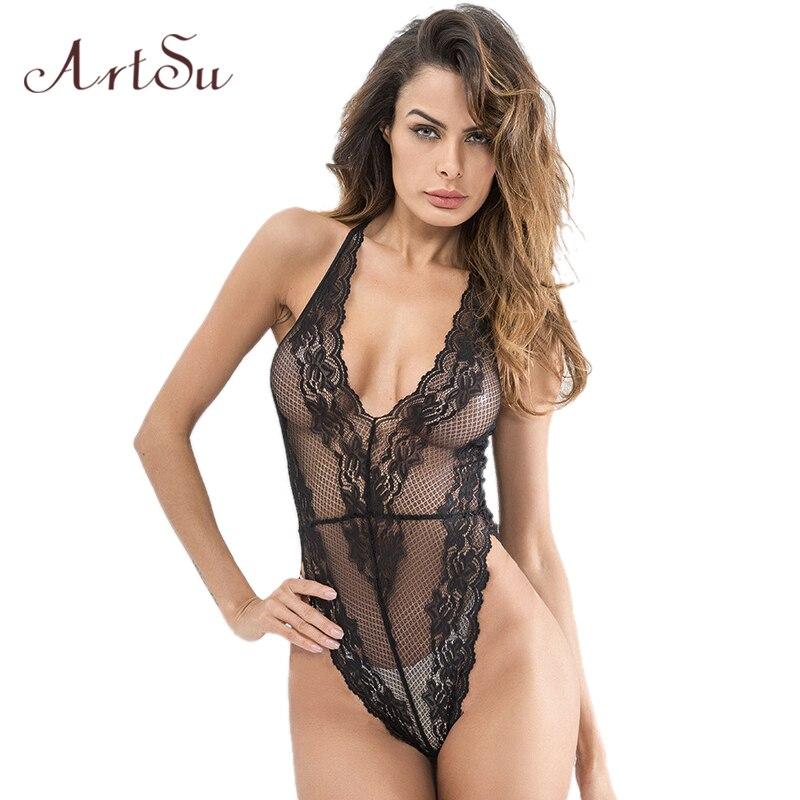 ArtSu 2018 Sexy Bodysuit Lace Black Rompers Womens Jumpsuit Hook Flower Body Feminino Women Sexy Deep V Neck Overalls ASJU30313
