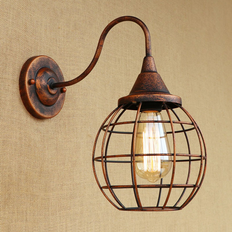 Loft Style Industrial Wall Lamp Creative Rusty Color Vintage Wall ...