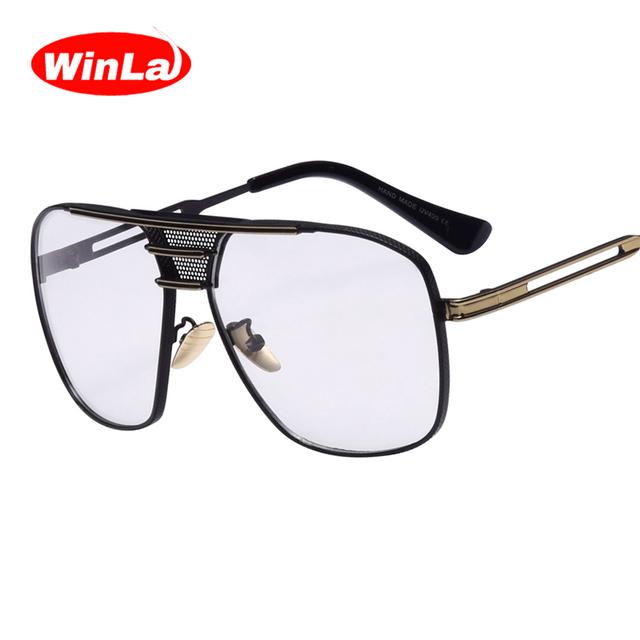 Winla cuadrado gafas de diseñador de las mujeres más nuevos originales accesorios oculos lente transparente nerd gafas de metal marco de la vendimia femenina