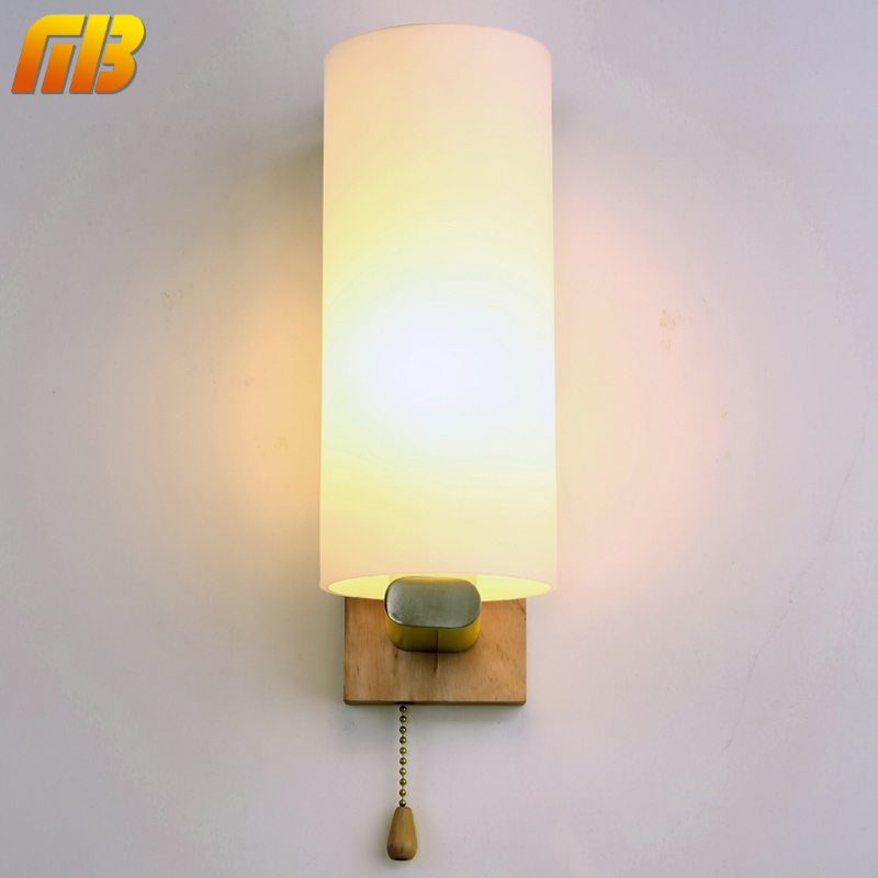 ФОТО Vintage Wall Lamp Night Light Wood+Glass E27 Socket For Bed Room Foyer Living Room