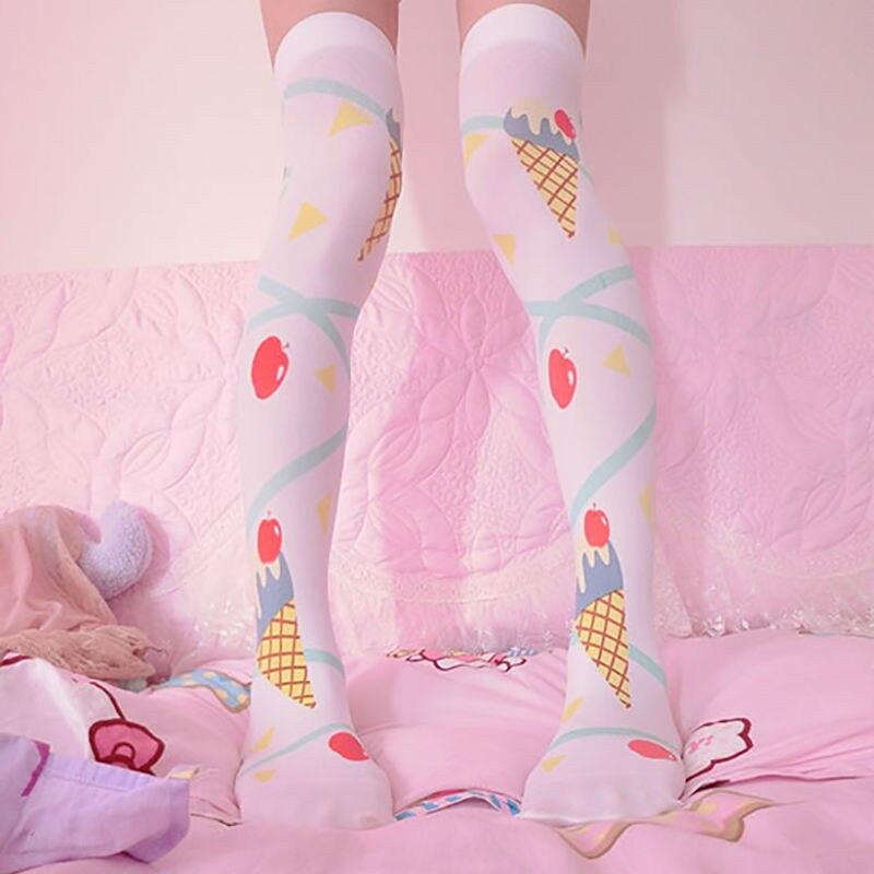 Women 39 s Lolita Over knee Stockings Printing Thigh High Long Stockings Cosplay Good Quality Anime Kawaii Cute Sweet 5SW18 in Stockings from Underwear amp Sleepwears