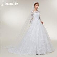 Fansmile Langarm Vestido De Noiva Spitze Kleider Hochzeit Kleid 2020 Zug Custom made Plus Größe Braut Tüll Mariage FSM 406T