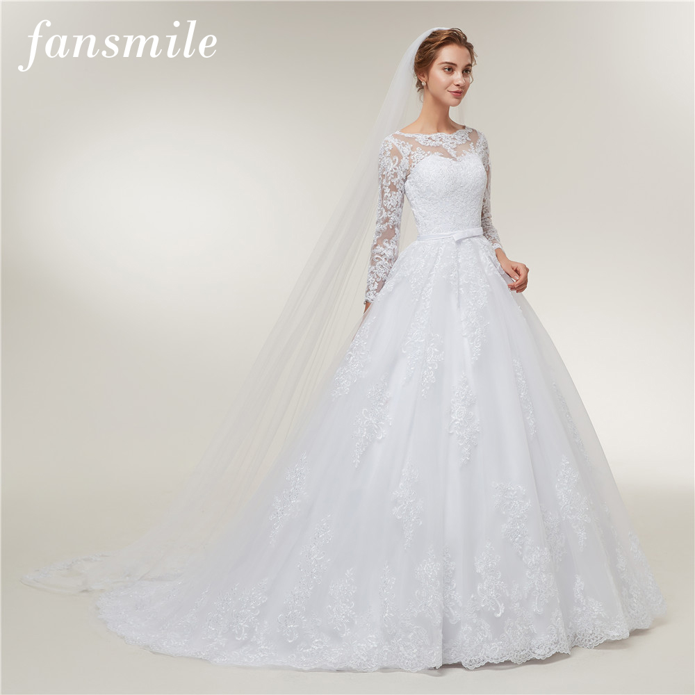 Fansmile Long Sleeve Vestido De Noiva Lace Gowns Wedding Dress 2020 Train Custom-made Plus Size Bridal Tulle Mariage FSM-406T