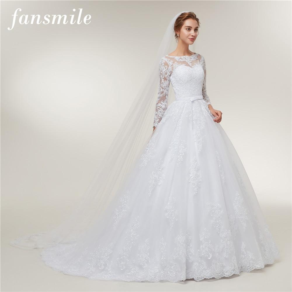 Fansmile Long Sleeve Vestido De Noiva Lace Gowns Wedding Dress 2020 Train Custom-made Plus Size Bridal Tulle Mariage FSM-406T