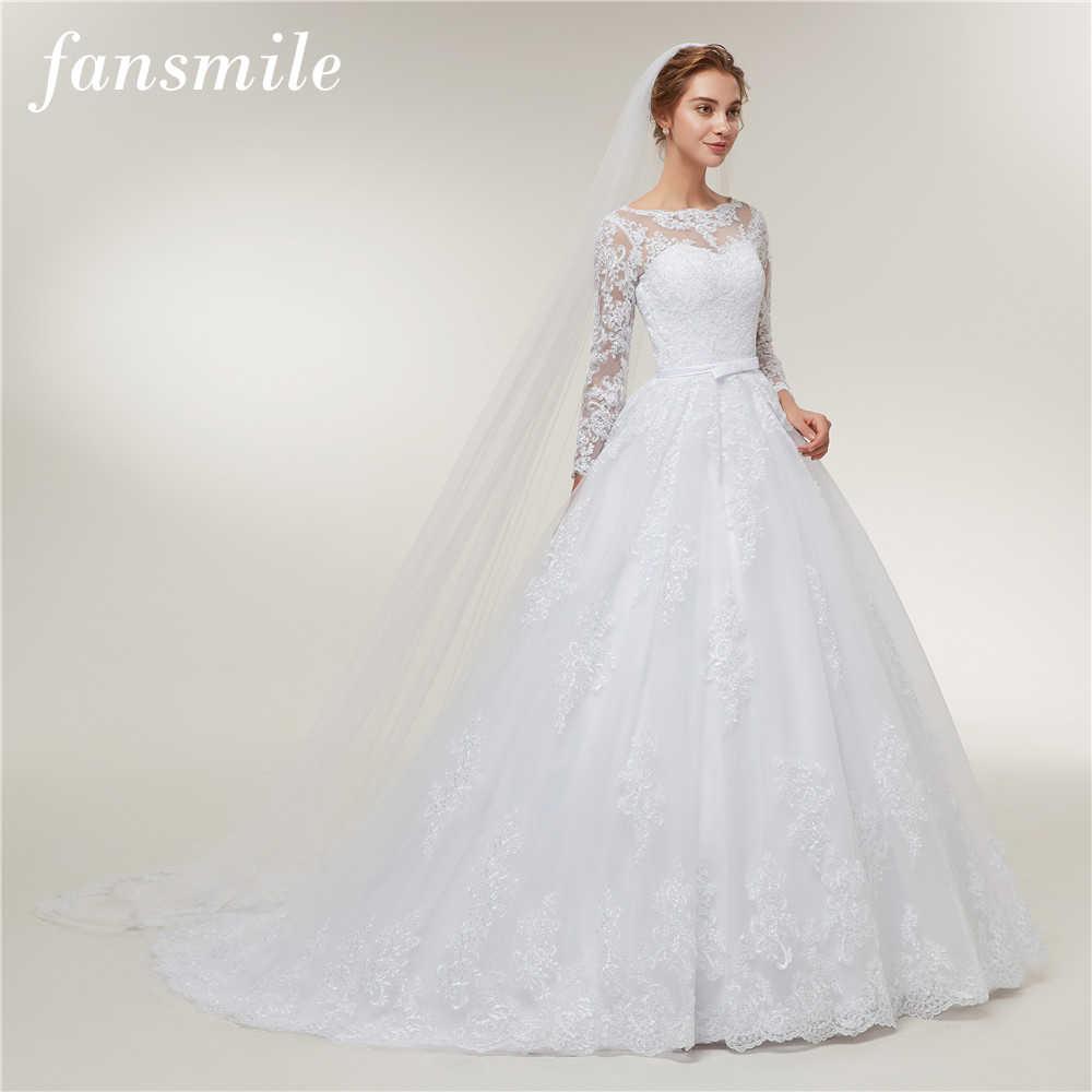 Fansmile, длинный рукав, Vestido De Noiva, кружевные платья, свадебное платье, 2019, поезд, на заказ, размера плюс, для невесты, тюль, для свадьбы, FSM-406T