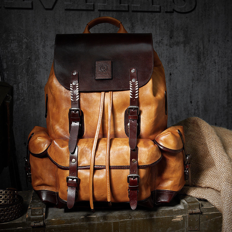 100% Soft Genuine Cow Leather Drawstring Bag Luxury Mens Laptop Backpack Travel Day Pack Bag Large Capacity Handmade Mochila Sac