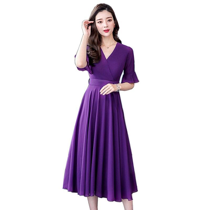 High Waist Pleated Chiffon Dress Women Casual Large Size V