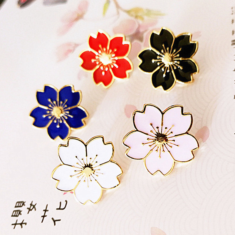 Fashion Japanese Style Beautiful Cherry Blossoms Uniform Badge Denim Jacket Pin Button Flower Brooch Pins Jewelry Gift for Girl