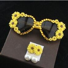 Модное Новое поступление, аксессуары, хризантема, темперамент, жемчуг, ювелирное изделие, цветок, Висячие серьги для женщин, Цветок, солнцезащитные очки, набор
