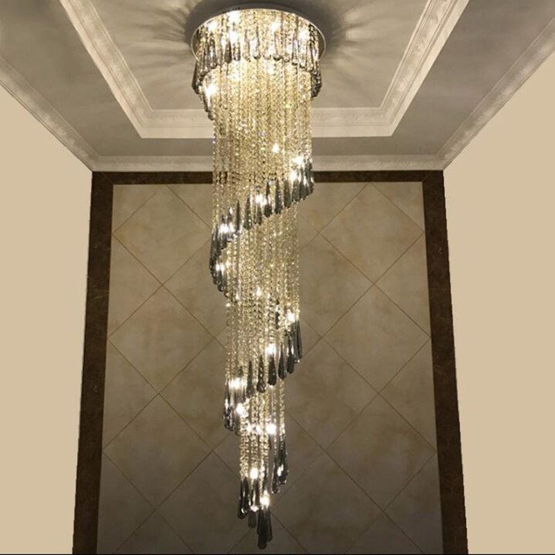 Modern Chandelier For Smoky Gray Crystal Luxury Fixtures Long Interior Stairway Lighting Corridor Chandelier Villa light-in Chandeliers from Lights & Lighting
