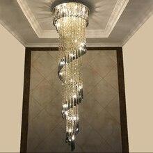 Nowoczesny żyrandol do Smoky grey Crystal luksusowe oprawy długie wnętrze schody oświetlenie korytarz żyrandol willa światło